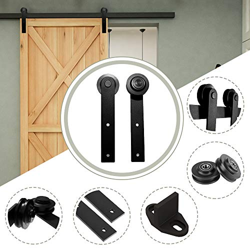 10.5FT/320 cm Schiebetür Kit Barn Door Hardware Schiebetuerbeschlag Hängeschiene Schiebetürsystem für Eine...