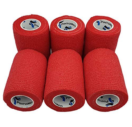 PintoMed – Dehnbare Kohäsive Bandage Fixierband – Rot – 7,5cm x 4,5m - Insesamt 6 Stuck, 7,5cm breit,...