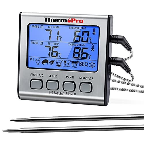 ThermoPro TP17 Digitales Grill-Thermometer Bratenthermometer Fleischthermometer Ofenthermometer mit Timer,...