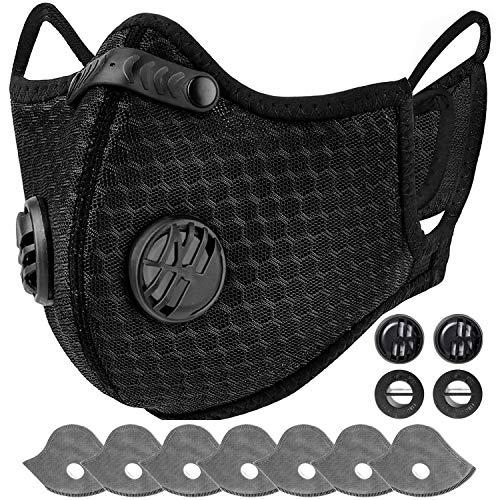 AstroAI Staubschutzmaske mit 7 Filtern & 4 Ventile- verstellbar Mundschutz Maske Schutzmaske Wiederverwendbar...