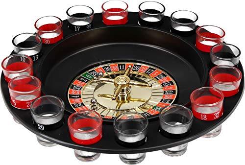 VonBueren Trinkspiel Roulette | Party Spiel Saufspiel mit Drehrad , Schnapsgläsern und Kugel | Partyspaß...