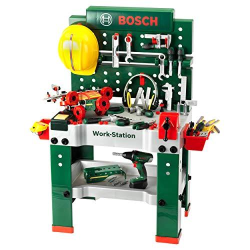 Theo Klein 8485 Bosch Werkbank Nr. 1 I 150-teilig I Inkl. Akkuschrauber, Konstruktionsset, Schleifgerät und...