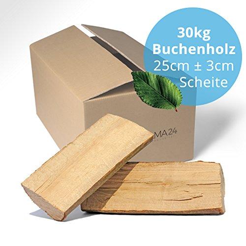 Panorama24 30 kg Brennholz Kaminholz Feuerholz Reine Buche ofenfertig kammergetrocknet in 25cm