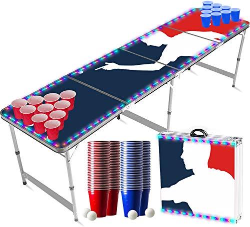 Offizieller Player Flash Beer Pong Tisch Set | LED-Beleuchtung | Inkl. 1 leuchtender Beer Pong Tisch + 120...