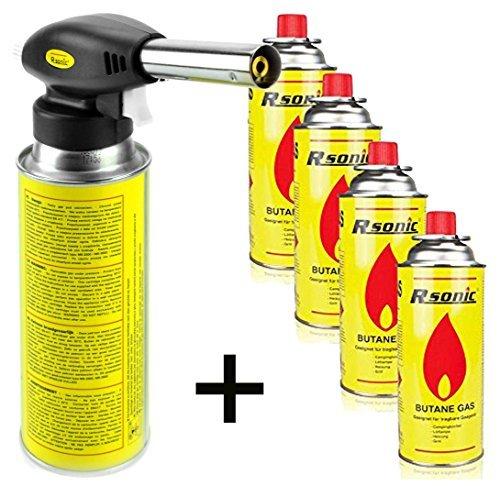 RSonic Lötbrenner Bunsenbrenner Gasbrenner Lötlampe aus Metall mit Piezozündung (mit 4 Kartuschen)