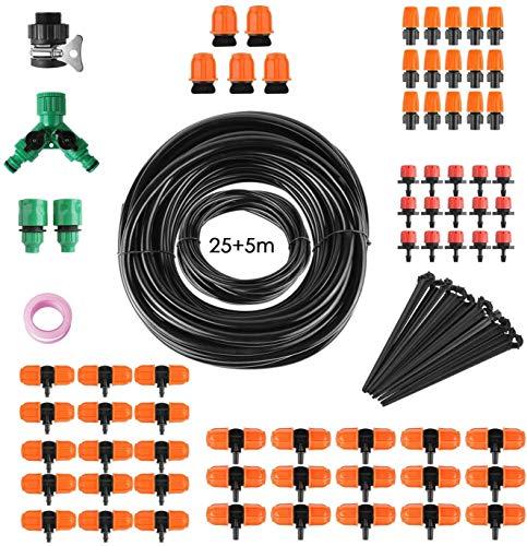 FIXKIT Bewässerungssystem für Topfpflanzen/Balkon/Garten/Rasen, 30M PVC Wasserschlauch+85PCS...