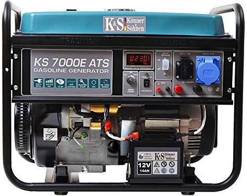Könner & Söhnen KS 7000E ATS - 4-Takt Benzin Stromerzeuger 13 PS mit E-Start, Notstromautomatik, 1x16A,...