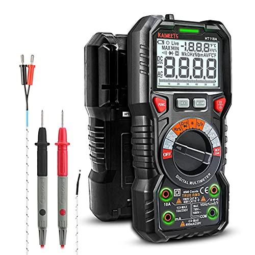 KAIWEETS Digital Multimeter mit LED-Buchsen, Strommessgerät CAT III 1000 V, CAT IV 600 V True RMS Auto-Range...