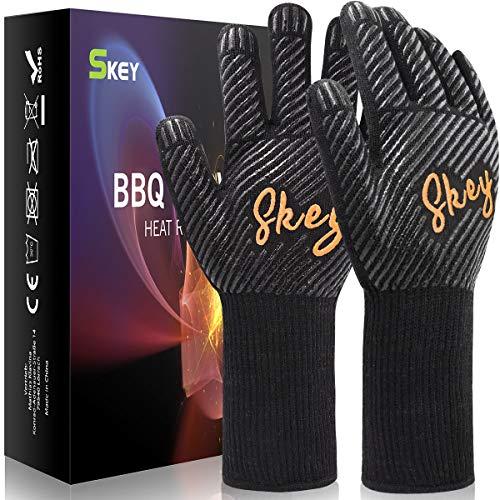 Grillhandschuhe Ofenhandschuhe Hitzebeständige bis zu 800 ° C, Grill Handschuhe Universalgröße...