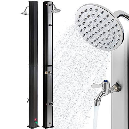 Arebos Solardusche 35 L | 216 cm | Regulierbare Wassertemperatur bis 60° | Mit Fußdusche | Schwenkbarer...