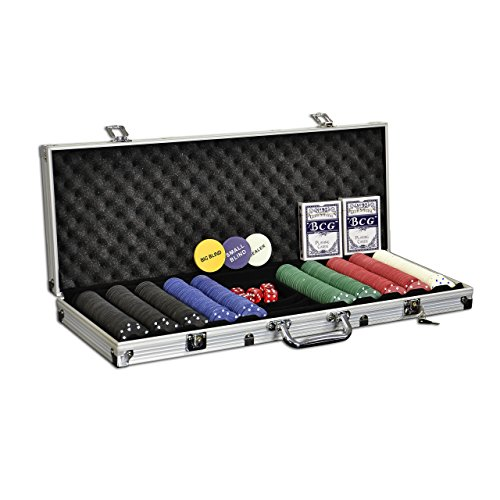 Nexos Pokerkoffer Starter-Poker-Set mit 500 Poker-Chips im Alu Koffer mit 2 Schlüssel Silber inkl. 2...