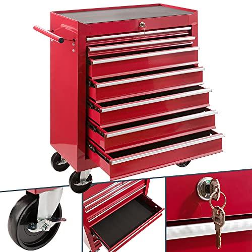 Arebos Werkstattwagen 7 Fächer   zentral abschließbar   inkl. Antirutschmatten   kugelgelagerte Schubladen  ...