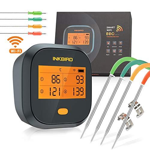 Inkbird Grillthermometer , Grillthermometer Wlan IBBQ-4T mit IPX3 Spritzfest, WiFi Fleischthermometer mit 4...