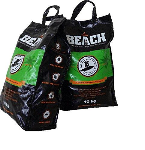 BlackSellig 20 Kg Beach Kokos Grill Briketts Reine Kokosnussschalen Grillkohle - perfekte Profiqualitt