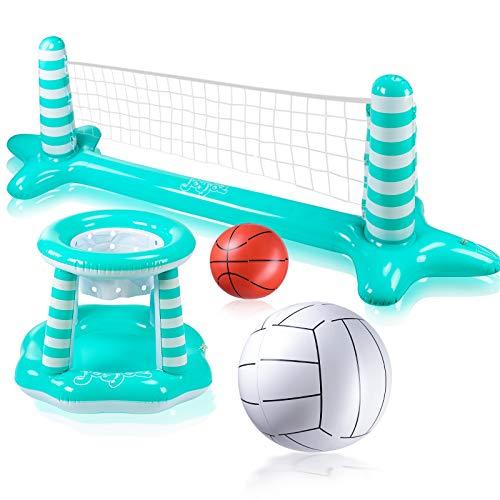 Joy joz Aufblasbarer Volleyball Pool Basketball Aufblasbare Pool Spielzeug Floating Volleyball Netz für...