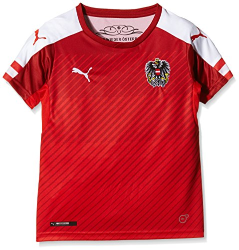 PUMA Kinder Trikot Austria Home Replica Shirt, Red/White, 140
