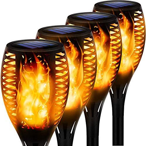 4 Stück Flammenlicht Gartenfackeln IP65 Wasserdicht Solar Flamme Fackeln Lichter Solarleuchten mit...