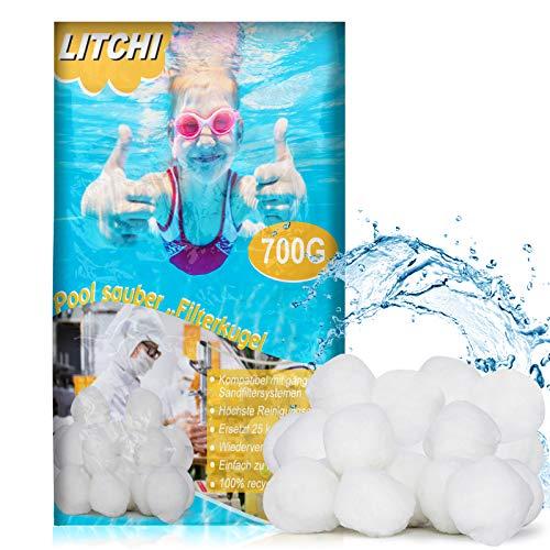 Litchi Filterballs für Sandfilteranlagen - Poolpumpe Sandfilter Pool Filter Balls 700g -Umweltfreundlicher...