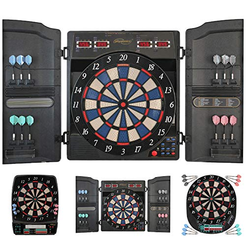 Physionics® Elektronische Dartscheibe - viele Spiele, mehr als 100 Spielvarianten, 12 Dartpfeile, 100...