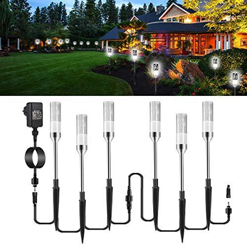 Gartenbeleuchtung ECOWHO 6er Kaltweiß LED Gartenleuchten mit Erdspieß Kabel, IP65 wasserdicht Gartenlampen...