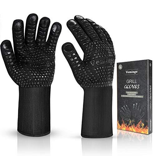 Vemingo Feuerfeste Handschuhe Grillhandschuhe Ofenhandschuhe   EN407 Hitzebeständige Bis zu 800 ° C  ...