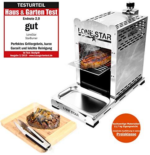 LoneStar StarBurner Edelstahl Beef Grill, Hochtemperatur Gasgrill, Beefmaker Oberhitzegrill bis 800°C, Gas...