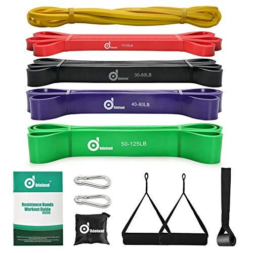 Odoland Fitnessbänder Set Pull Up Resistance Band in 5X Verschiedene Zugstärken – Expander Bänder Set...
