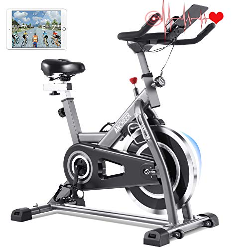 ANCHEER Heimtrainer Fahrrad, Hometrainer Fitnessbike mit 22KG Stahlschwungrad, fahrradtrainer spinning bike...