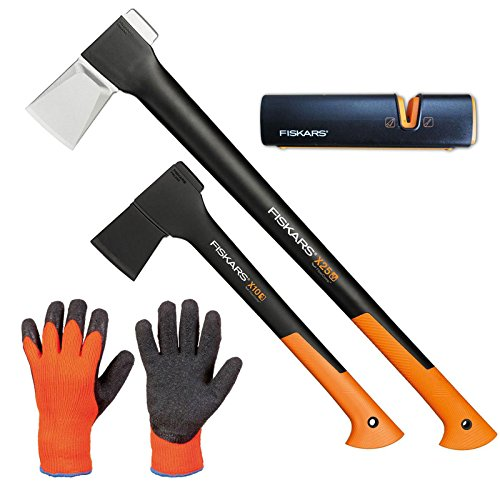 FISKARS© Set Spaltaxt X25 - XL + Universalaxt X10 - S + Xsharp Axt- und Messerschärfer + Handschuhe