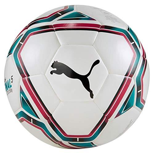 PUMA 83314 Unisex– Erwachsene teamFINAL 21 Lite Ball 350g Fußball, White-Rose Red-Ocean Depths Black, 5