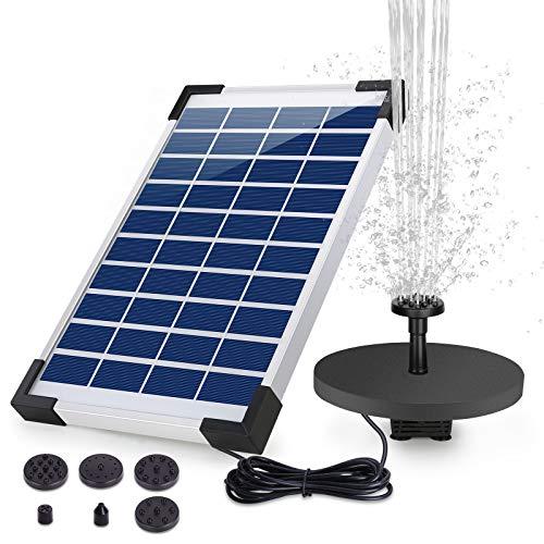 AISITIN Solar Springbrunnen 5.5W Eingebaute 1500mAh Batterie Solar Teichpumpe Wasserpumpe Solar Schwimmender...