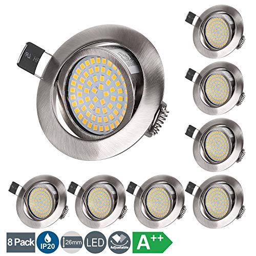 LED Einbaustrahler Flach 230V 5W LED Spots Schwenkbar Deckenspot Warmweiß 3000K, Runden Stahl IP20 Einbauspot...