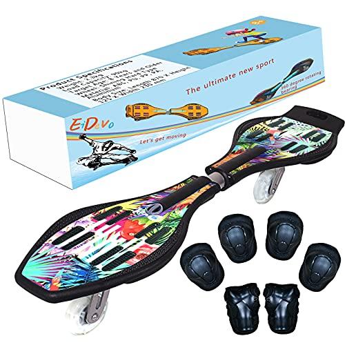 EiDevo Waveboard, Double Wheel Scooter Caster Board mit LED-Aurora Leuchtet Wave Board Geburtstagsgeschenk...