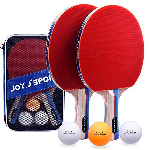 Joy.J Sport Tischtennisschläger, Pingpong-Schläger Set mit 2 Schläger und 3 Bällen, Tischtennis-Schläger...