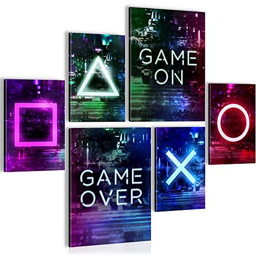 Bilder Spielkonsole Gamer - STYLISCH, KEIN RAHMEN BENÖTIG - Moderne Collage Bunt - Wohnzimmer - N021363a