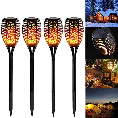 4 Stück Solarleuchten Garten Außen, Swonuk Solar Flammenlicht mit Wasserdicht IP68, Gartenleuchten mit...