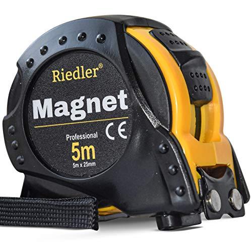 Riedler Maßband 5m mit magnetischer Spitze, Stopp Taste und einrastender Funktion. Robuste Bauweise mit hoher...