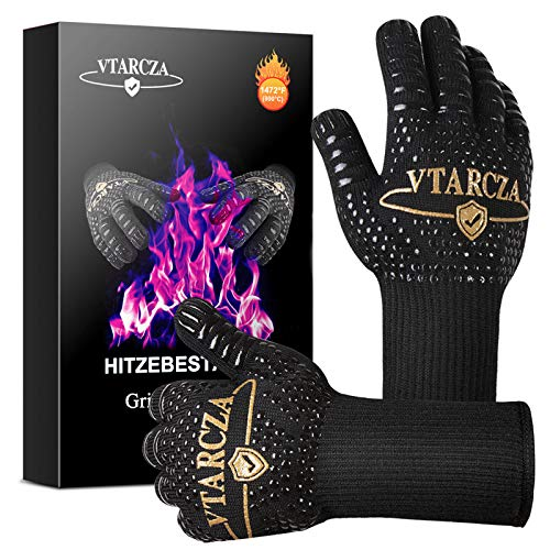 VTARCZA Grillhandschuhe Hitzebeständig bis zu 800°C, Ofenhandschuhe BBQ Kochenhandschuhe Backhandschuhe...