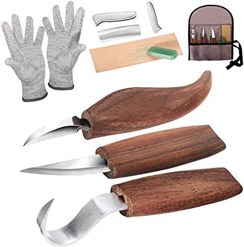 Holz-Schnitzwerkzeug Set, Holz-Schnitzmesser mit Schleifsteine, Professional Holzschnitzerei Messer Werkzeuge...