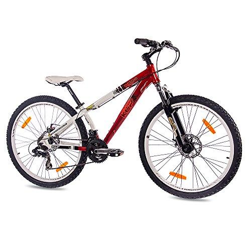 KCP 26' Dirtbike Mountainbike Fahrrad Edge ALU mit 21 Gang Weiss rot - 66,0 (26 Zoll)