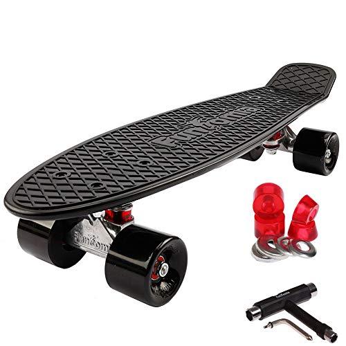 FunTomia Miniboard 57cm Skateboard mit oder ohne LED Leuchtrollen inkl. Alu Truck und Mach1 Kugellager