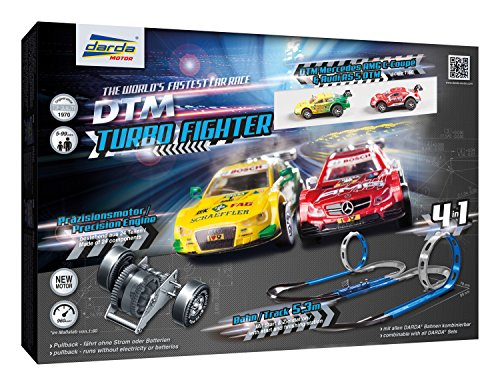 Darda 50244 Rennbahn Set Turbo Fighter, Autorennbahn Autos, Rennstrecke ca. 5,3 m, mit 2 Loopings, 2 Kurven,...