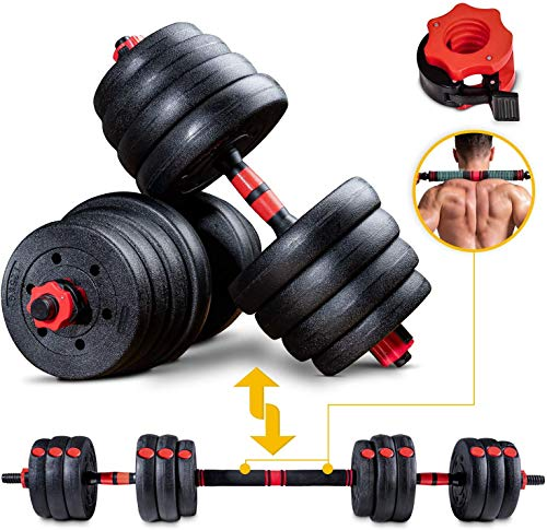 Sportstech 2in1 innovatives Hantel Set AH150 | Kurzhanteln & Langhanteln | Hanteln im 20kg, 30kg, 40kg Set |...