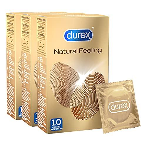 Durex Natural Feeling Kondome – Latexfreie Kondome für ein natürliches Haut an Haut Gefühl – 30er Pack...