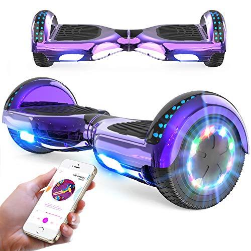 RCB Hoverboard 6,5 Zoll Elektro Skateboard für Kinder und Jugendliche Elektroroller mit Bluetooth - LED Licht...