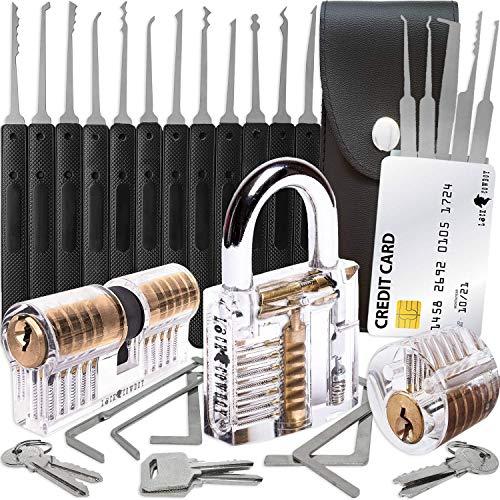 30-teiliges Lockpicking Set mit 3 Transparenten Übungsschlössern + Dietrich-Set in Kreditkartengröße von...
