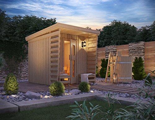 ISIDOR Premium Gartensauna Fortuna Outdoorsauna mit 4,1m² Großem Saunaraum und Großer Veranda für Ein...