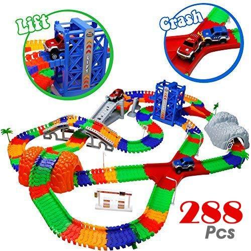 Car Track mit 2 Electric Auto Eisenbahn Autorennbahnen Montage Spielzeug Rennbahn Spiel Set für Kinder ab 3...