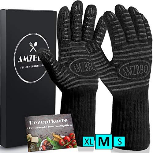 AMZBBQ Premium Grillhandschuhe, Hitzebeständige Backhandschuhe Bis 500 Grad, Extra Lange Ofenhandschuhe,...