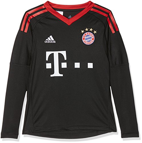 adidas Kinder FC Bayern Torwart Heim Langarm-Trikot, Black/FCB True Red/White, 140